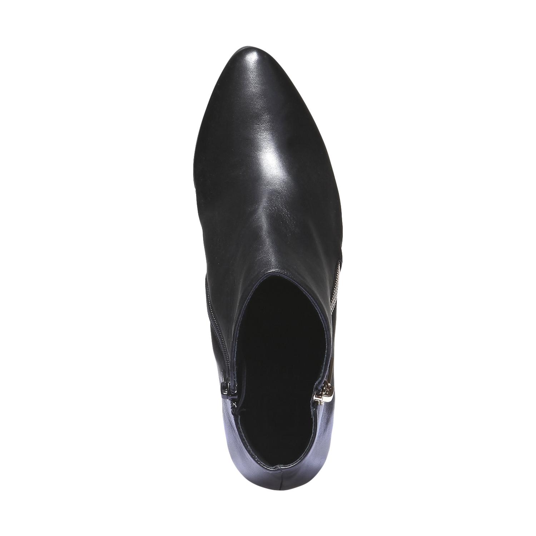 Kožená obuv na klínku hogl, 2018-794-6066 - 19