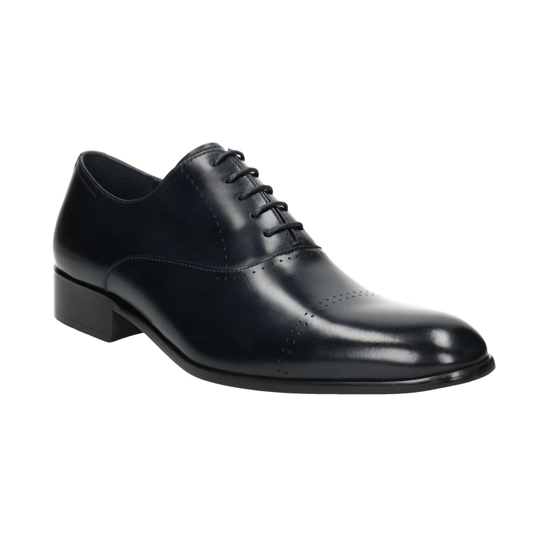 b330c338abe2 Bata Modré kožené polobotky v Oxford střihu - Všechny boty