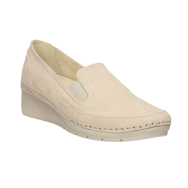 Baťa Kožené Slip-on na klínovém podpatku - Všechny boty  5abdc2ea58