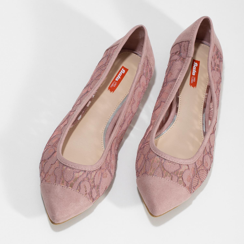 ec510f3b465 Bata Red Label Růžové krajkové baleríny do špičky - Ženy